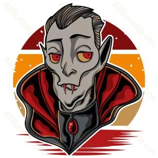 Halloween Vampire Retro Sunset