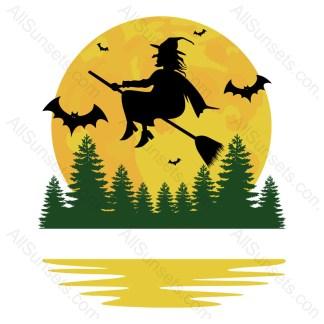 Halloween Witch Bats Full Moon