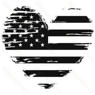 Heart Grunge American Flag
