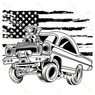 Hotrod Vintage Car Grunge American Flag
