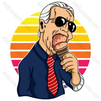 Joe Biden Eating Ice Cream Heatwave Retro Sunset