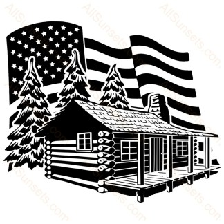 Log Cabin Woods American Flag