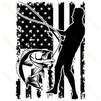 Man Bass Fishing American Flag