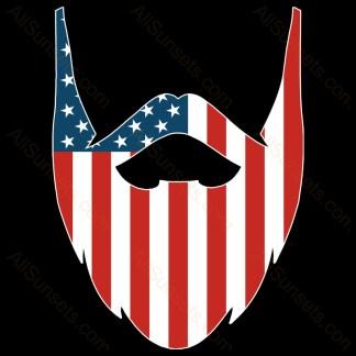 Man Beard American Flag