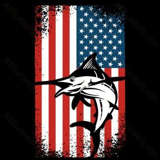 Marlin Salt Water Fishing American Flag