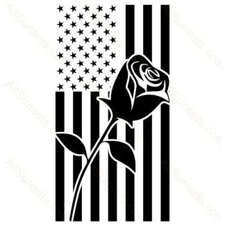 Rose Bud American Flag Vector