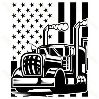Semi Truck Smokestacks American Flag