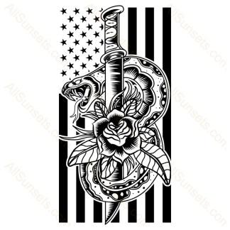 Snake Rose Knife American Flag