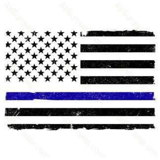 Blue Thin Line Grunge American Flag