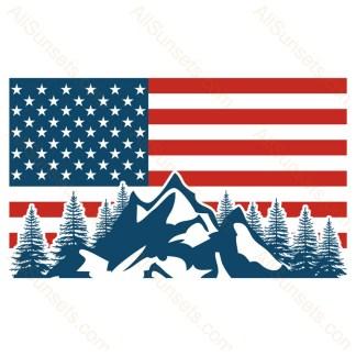 Trees Snow Mountains American Flag