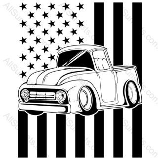 Vintage Pickup Truck American Flag