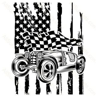 Vintage Race Car American Flag