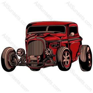 Vintage Red American Muscle Car