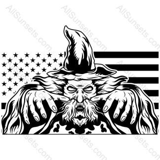 Halloween Wizard American Flag