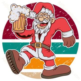 Beer Drinking Santa Vintage Christmas Sunset