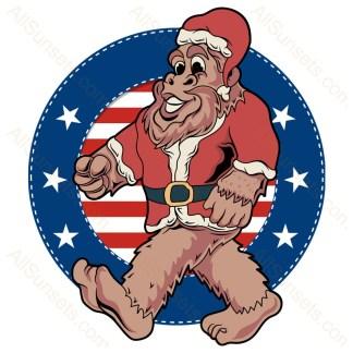 Bigfoot Santa Claus Patriotic Circle With Stars