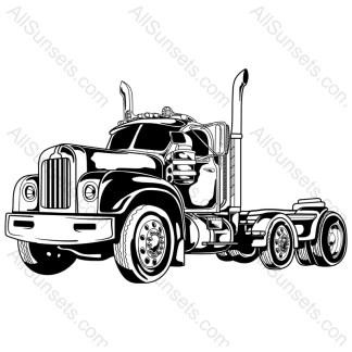 Bobtail Classic Semi Truck Vector