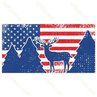 Deer Forest Distressed Horizontal American Flag