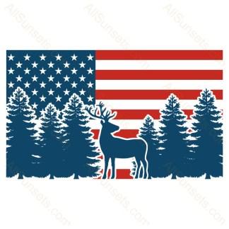 Deer in Forest Standard American Flag