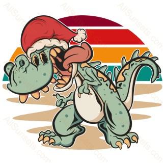 Dinosaur in Santa Hat Christmas Retro Sunset