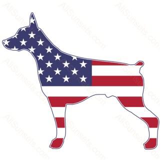 Doberman Dog Shaped American Flag