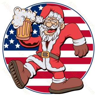 Drinking Santa Round American Flag