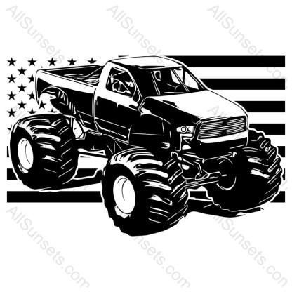 Monster Truck American Flag