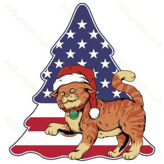 Santa Cat Christmas Tree American Flag