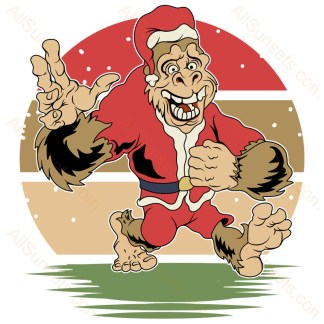 Santa Claus Bigfoot Christmas Retro Sunset