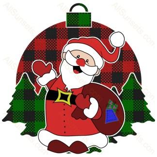 Santa Claus Christmas Tree Plaid Pattern Ornament
