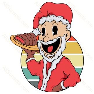 Santa Claus Cooking Christmas Retro Sunset