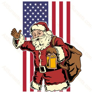 Santa Claus Vertical American Flag