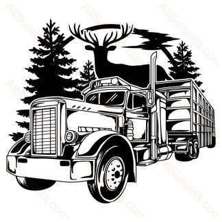 Semi Truck and Trailer Deer Forest Sunset