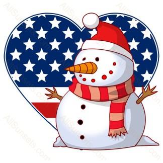 Snowman American Flag Heart