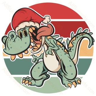 T-Rex Santa Hat Christmas Retro Sunset