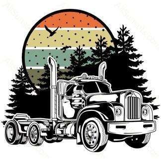 Vintage Bobtail Semi Truck Forest Retro Sunset