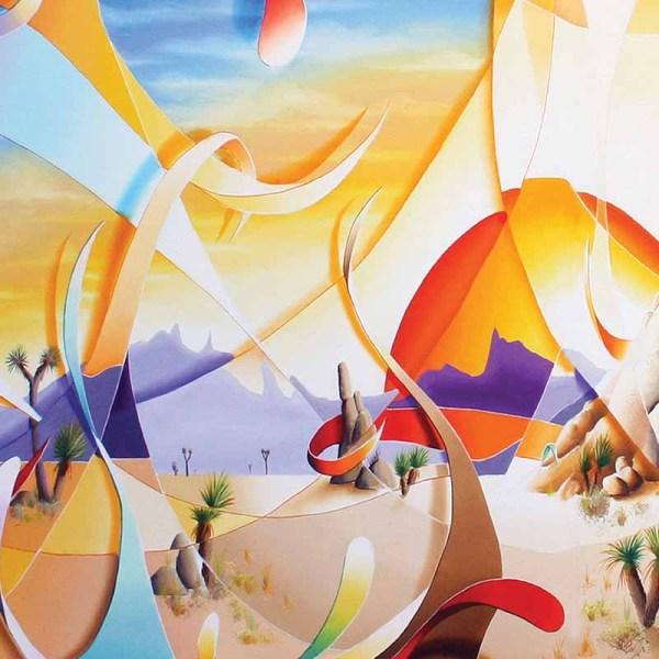Tableau abstrait contemporain multicolore sur le désert.