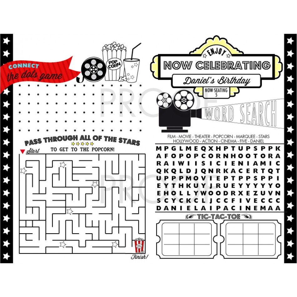 Movie Party Printable Activity Coloring Page