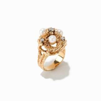Damen-Goldring mit Perlen und Diamanten