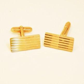 Manschettenknöpfe rechteckig vergoldet gestreift