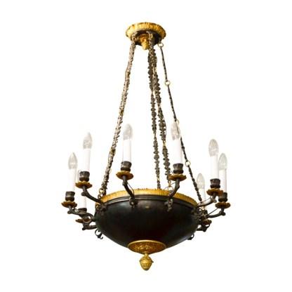 Feuervergoldete Empire Deckenlampe, Frankreich, 1.H.19.Jhdt.