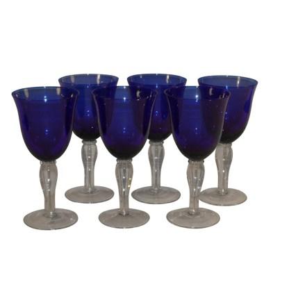 Set mundgeblasene Weingläser aus Kobaltglas, Italien, um 1920