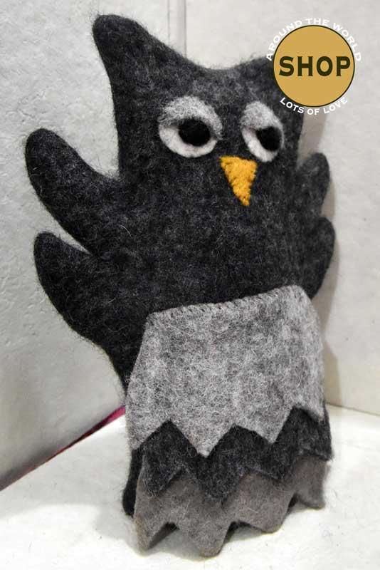 Handgemaakt vilt handpop uil 5395 Speelgoed, dieren. Shop Around the World