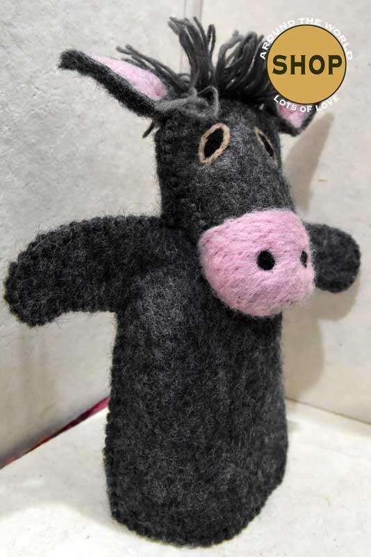 Handgemaakt vilt handpop ezel 5401 Speelgoed, dieren. Shop Around the World