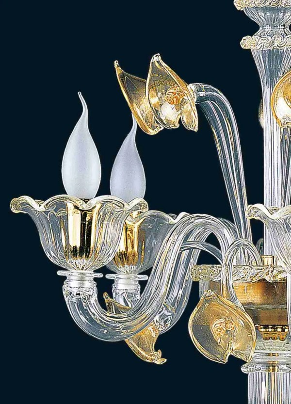 Table lamp 68cm high, 3 or 5 lights, in Murano glass, color of the glass and crystal with decorations covered with 24K gold leaf.