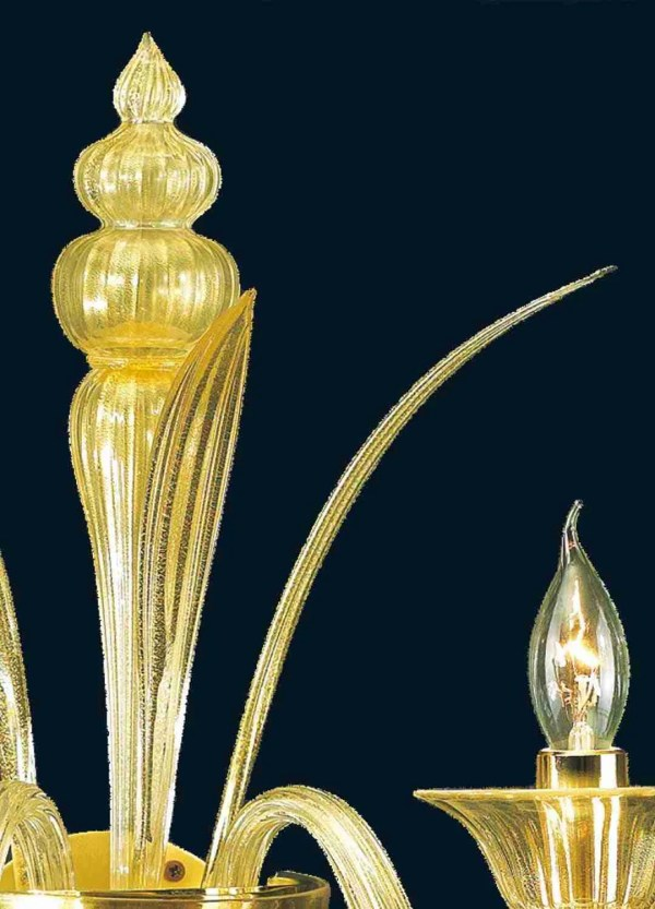 2 lights applique all in 24k gold handmade by our glass masters in Murano glass consisting of 2 arms 2 cups 3 leaves 1 pyramid.