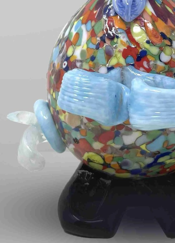 Murano glass clown handmade by our glass masters with the use of multicolored murrine to enhance the details of the sculpture.