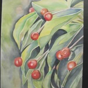 'Red Berries' Painting 11X13 - Art & Buff