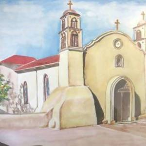 'Church in New Mexico' Painting 11X13 - Art & Buff