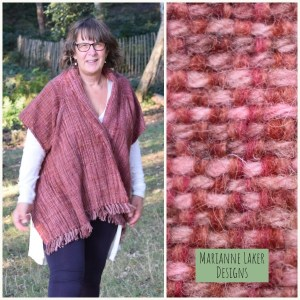 handwoven shawl with sleeves in raspberry